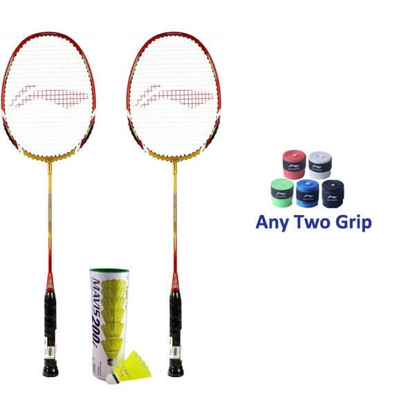 Li Ning Smash XP 90-II Badminton Racket Two Player Set