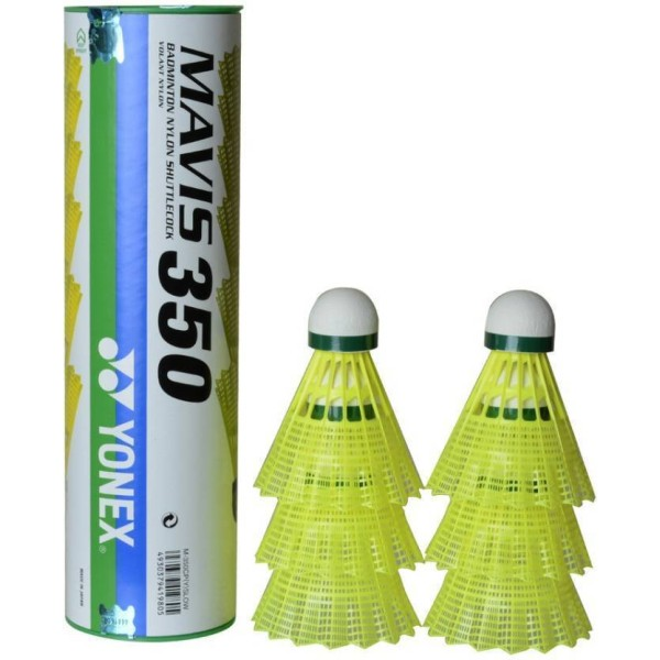Yonex Mavis 350 Nylon Shuttlecock Green cap (Pack of 6)