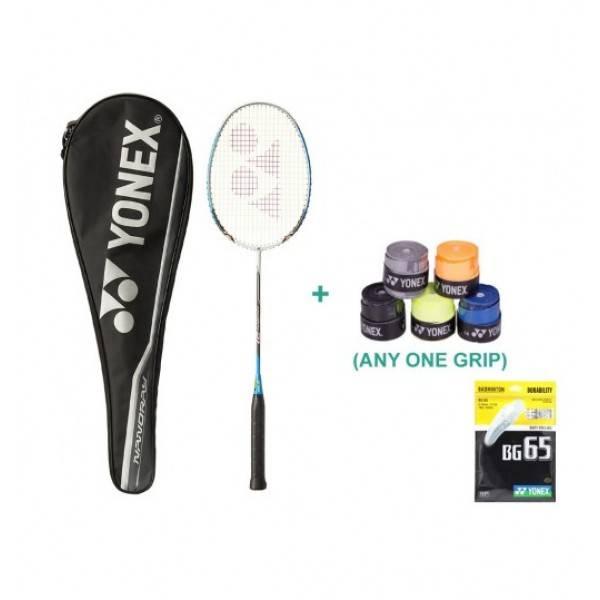 Yonex Nanoray D1 Badminton Raquet Set With Overgrip and String
