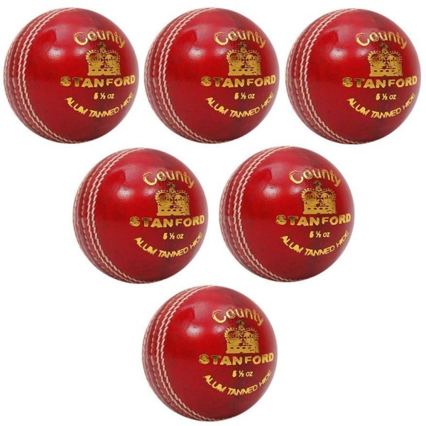 Stanford County Red Cricket Ball 6 Ball Set