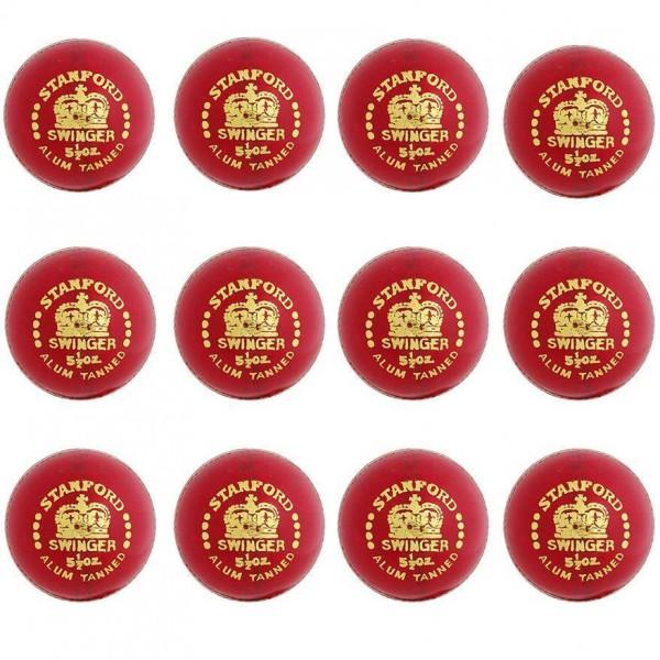 Stanford Swinger Red Cricket Ball 12 Ball Set