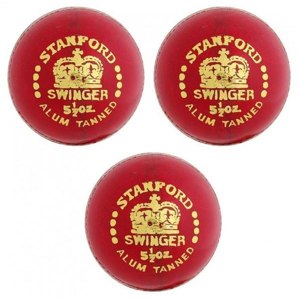 Stanford Swinger Red Cricket Ball 3 Ball Set