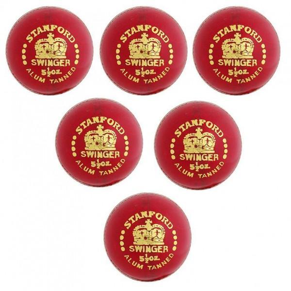Stanford Swinger Red Cricket Ball 6 Ball Set