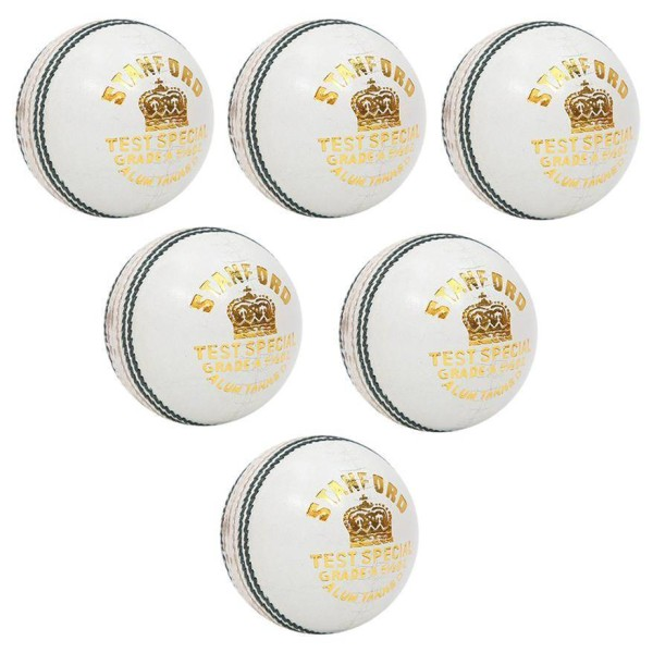 Stanford Test Special White Cricket Ball 6 Ball Set