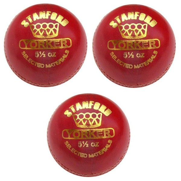 Stanford Yorker Red Cricket Ball 3 Ball Set