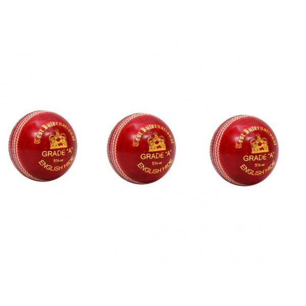 Stanford Test International Red Cricket Ball 3 Ball Set