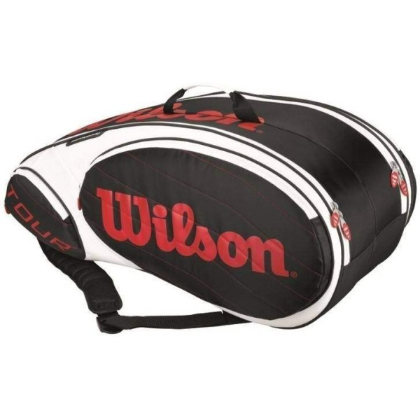 Wilson Tour 9 PK Tennis Kitbag Black and Red