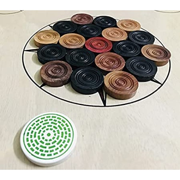 Altis Wooden Carrom Board 32 Inches (Large) Size in 5mm Ply and 1.5 Inch Border with Coins, 2 Striker and Powder Free