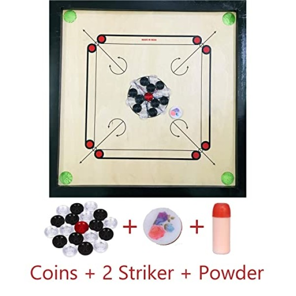 Altis Wooden Carrom Board 26 Inches (Medium) Size in 5mm Ply and 1.5 Inch Border with Coins, Striker and Powder Free